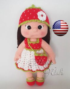 PATTERN - Mia Doll With Starwberry Dress (crochet, amigurumi) door HavvaDesigns op Etsy https://www.etsy.com/nl/listing/188354274/pattern-mia-doll-with-starwberry-dress
