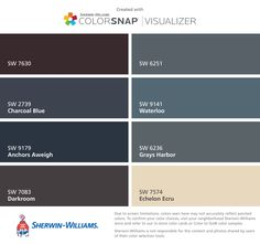 I found these colors with ColorSnap® Visualizer for iPhone by Sherwin-Williams: Raisin (SW 7630), Charcoal Blue (SW 2739), Anchors Aweigh (SW 9179), Darkroom (SW 7083), Outerspace (SW 6251), Waterloo (SW 9141), Grays Harbor (SW 6236), Echelon Ecru (SW 7574).
