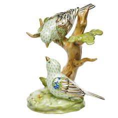 "Herend Hand Painted Porcelain Figurine ""The Rothschild Birds"" Key Lime Fishnet Gold Accents."
