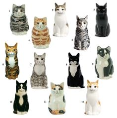 """The Quail cat collection - Moggies. Tiny - (available in 3"""", 4"""", 6""""). I want them all! They are so nicely observed. And they have such thoughtful names (you can see them on the website). No 9 is the famous """"Smudge""""."""