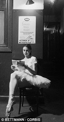 Margot Fonteyn reading a letter from home between rehearsals at New York's Metropolitan Opera House, c. 1960