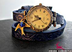 SOMMERDUFT Echtleder Wickeluhr Armbanduhr blau Uhr von ♥ Schloss Klunkerstein ♥ Geschenke, Uhren, handgefertigter Unikat Schmuck, romantische Medaillons & Kettenuhren, Naturschmuck, nostalgische, antike & vintage Einzelstücke und seltene Schätze auf DaWanda.com
