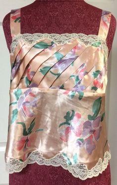 Victoria's Secret Vintage Gold Label Pink Floral & Lace Trim Cami Lingerie Large #VictoriasSecret #Vintage