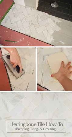 Fireplace makeover: how to install marble herringbone tile on the surround