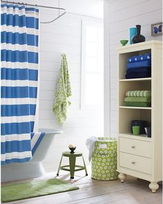 Color scheme for upstairs bathroom shared by all the kids.  It will be the lone white room, but I love the pop of the shower curtain.