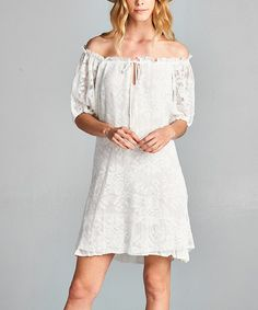 This Ivory Lace Off Shoulder Dress is perfect! #zulilyfinds