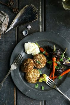 BROAD (FAVA) BEAN & CHICKPEA FALAFEL WITH ROAST ROOT VEGETABLES & LABNE