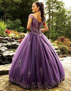 Purple wedding dress with beaded motif edging