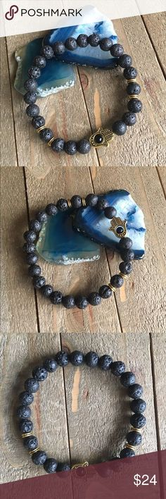 Handmade Lava Stone Hamsa Bracelet for Men I designed and made this Lava stone stretch bracelet for men with the intention of bringing the wearer strength and courage. In all faiths, the Hamsa hand is a protective sign. It brings the wearer happiness, love, health, and good fortune. Lava stone has several healing properties that are listed in the photos above.  Please Note: The use of #gemstones is not meant as a substitute for medical or psychological diagnosis and treatment  Always made…