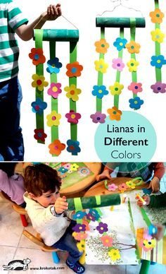 Paper spring flower craft - made from toilet paper tubes and craft paper. What a sweet and colorful mobile for hanging around the house, playgroup or classroom