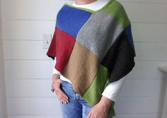 Womens Patchwork Poncho  PDF Printable sewing by fibersandtwigs