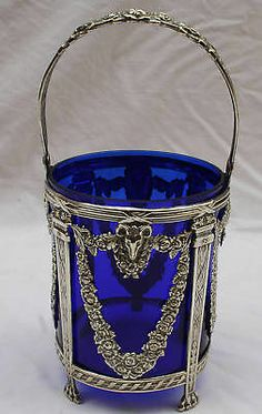 magnificent 1900 French basket made of repose sterling silver with a wonderful detail and design with a cobalt blue liner. Measures approx tall with handle, without handle and approx diameter Cobalt Glass, Cobalt Blue, Love Blue, Blue And White, Color Blue, Or Antique, Antique Silver, Pantone, Blue Liner