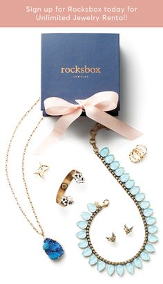 Unlimited Jewelry for $21/mo? Yes, please! Hit refresh on your look with Rocksbox,the jewelry subscription service that allows you to stay on trend with your accessories for only $19/mo.  Sign up to receive a curated box of designer jewelry from designers such as Kendra Scott, Gorjana, House of Harlow and Loren Hope.