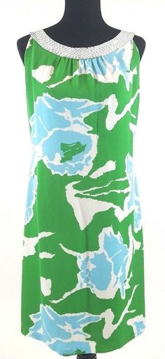 Tory Burch sleeveless shift dress with sequined neckline. White and sliver toned sequined band at neck. silk in a green, blue and white abstract floral print. Just add sandals or strappy espadrilles. Cute Clothes For Women, Keyhole Dress, Vince Camuto Dress, Stretch Dress, Blue Abstract, Navy Blue Dresses, Size 14 Dresses, Silk Dress, Tory Burch