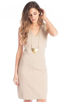 Isis Dress in Light Taupe