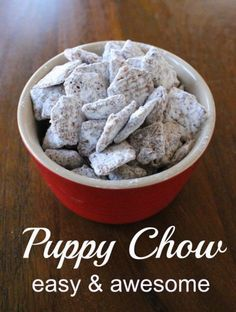 Or Muddy Buddies. Whatever you call them they. Or Muddy Buddies. Whatever you call them they are Puppy Chow. Or Muddy Buddies. Whatever you call them they are an amazing chocolate peanut butter sweet treat! Yummy Treats, Delicious Desserts, Sweet Treats, Dessert Recipes, Yummy Food, Dinner Recipes, Chex Mix, Delicious Chocolate, Christmas Baking