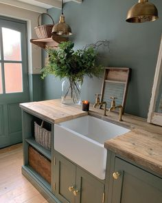 Barn Kitchen, Farmhouse Style Kitchen, Green Kitchen, Home Decor Kitchen, Country Kitchen, Kitchen Interior, New Kitchen, Kitchen Dining, Welcome To My House