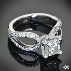 "princess cut infinity wedding ring | This ""Infinity"" Diamond Engagement Ring is set in platinum and has ..."