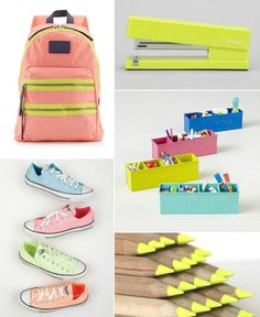 Back-to-School Supplies: Gold, Stripes, Dots, and Neon!