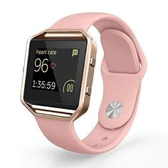 UMTELE Soft Silicone Replacement Strap with Rose Gold Frame for Fitbit Blaze Smart Fitness Watch Small Pink