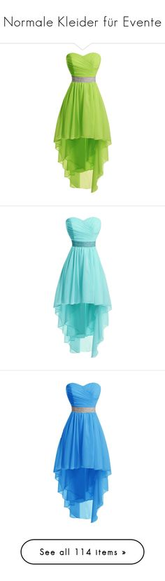 """Normale Kleider für Evente"" by lynera ❤ liked on Polyvore featuring dresses, party dresses, high low dresses, homecoming dresses, high low party dresses, green cocktail dress, prom homecoming dresses, blue dress, blue high low dress and hi lo dresses"