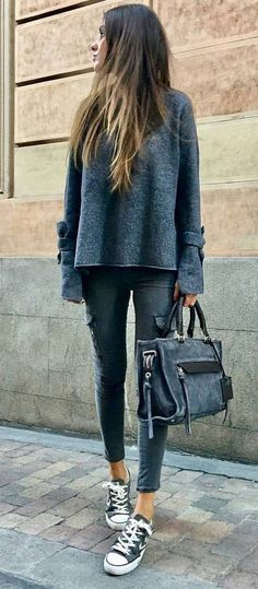 #winter #outfits Grey Knit // Black Skinny Jeans // Black Sneakers // Black Bleached Tote Bag