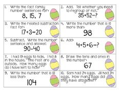 Easter Math Review Freebie: quick and easy prep if you already have 20 plastic eggs and access to a printer/copier!