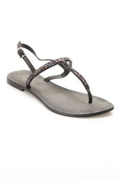 Enid Flat Sandal in Black