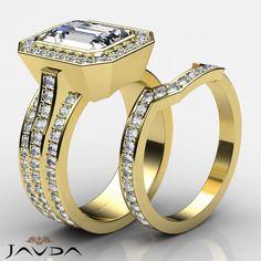 Emerald Diamond Halo Engagement Bridal Set Ring GIA I SI1 14k Yellow Gold 3.3 ct