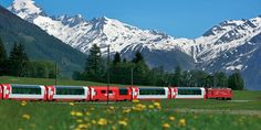 """The Glacier Express is one of Switzerland's most famous train excursions. The Glacier Express, which has been operating since is billed as """"the world's slowest express train"""" and averages Zermatt, Places To Travel, Places To See, Travel Destinations, Glacier Express, Scenic Train Rides, Rail Europe, Swiss Travel, Voyage Europe"""