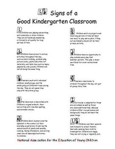10 SIGNS OF A GOOD KINDERGARTEN CLASSROOM - TeachersPayTeachers.com