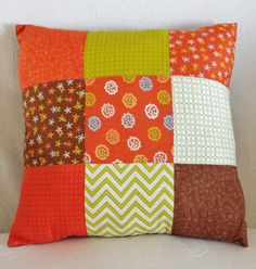 Hand-Stitched Orange Brown and Green by LavenderBluDesigns on Etsy