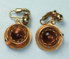 Vintage Coffee Break Dangle Clip Earrings Lucite by PastSplendors, $20.00