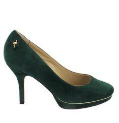 Zapato de ante en Verde oscuro con plataforma. Un modelo de zapato básico y agradable. Ref.6636 //Suede platform heel shoe in dark Green. Basic and nice. Ref.6636