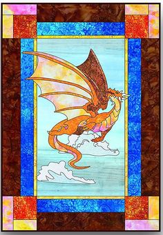 This is a fusible applique pattern, not a stained glass. The pattern includes 3 template page - full-scale templates for both dragon and scenery, a layout guide, and instructions. Also included are in
