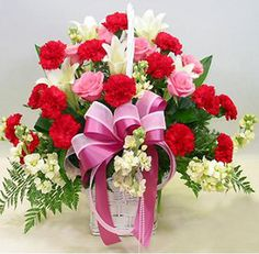 Welcome a newborn baby in the world with fresh and exquisite flowers! With a beautiful Pink & White Flower Bouquet, you can brighten up room. Purchase online now or book your order via phone today!  www.realflowers.ae