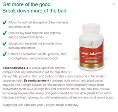 Essentialzymes-4 by Young Living Essential Oils - Multi-spectrum enzyme complex specially formulated to aid in breaking down fats and carbs, while boosting nutrient absorption! Fran Asaro - www.franasaro.com