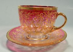 Exquisite Moser Cranberry Shaded Demitasse Cup and Saucer Gold Enameling