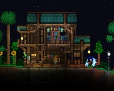 A small house for the guide : Terraria Terraria House Design, Terraria House Ideas, Building Games, Building A House, Cube Games, New Animal Crossing, Biomes, The Great Outdoors, Houses