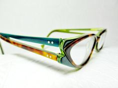 799ae48d2164 Traction Productions Cateye Cat Eye Glasses France French Tortoise Green  Tri Color