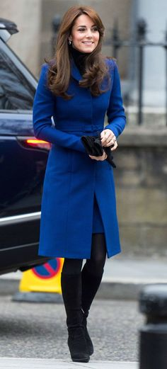 Kate Middleton Looks Regal in a Royal Blue Coatdress, Reveals Safety Concerns for Prince William and Prince George  Catherine, Duchess of Cambridge, Kate Middleton