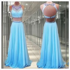 2 Pieces Prom Dresses Blue Prom Dress Long Prom Dresses Cheap Prom Dresses 2016 Prom Dresses Custom Prom Dresses Dresses For Prom