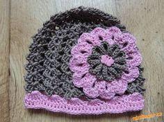 Háčkovaná kytka, kytička.. Crochet Girls, Crochet Woman, Crochet Baby Hats, Baby Knitting, Crochet Hooks, Free Crochet, Baby Beanie Hats, Beanies, Animal Hats