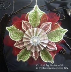 Christmas Holiday Ornament and tutorial made from the Stampin' Up!  Ornament Framelits  from the holiday catalog.