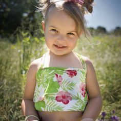 Beautiful tropical Crop Top that is perfect for those hot summer days! The top is made out of a thin, breathable jersey knit fabric. Little Girl Swimsuits, Summer Days, Making Out, Drawstring Backpack, Little Girls, Tropical, Crop Tops, Fabric, Bags