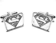 Superman Cufflinks : Silver Logo Silver Rectangle - Superhero Cufflinks - Cufflinks my best guy friend would love these.