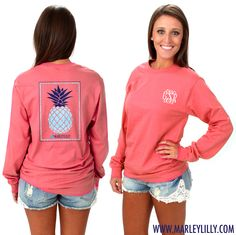 Monogrammed Seersucker Pineapple Long Sleeve Comfort Color T-Shirt #comfortcolor #marleylilly #pineapple