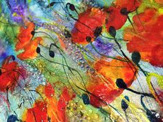 floral abstract painting, abstract with poppies #2, small modern wall art, glass art