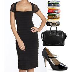 Basic black sheath dress & accessories..