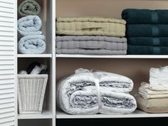 Professional organization ideas by The Well-Organized Woman - organized linen closet Linen Closet Organization, Clutter Organization, Organization Ideas, Organizing Tips, Cleaning Tips, Storage Ideas, Bathroom Organization, Storage Solutions, Organising